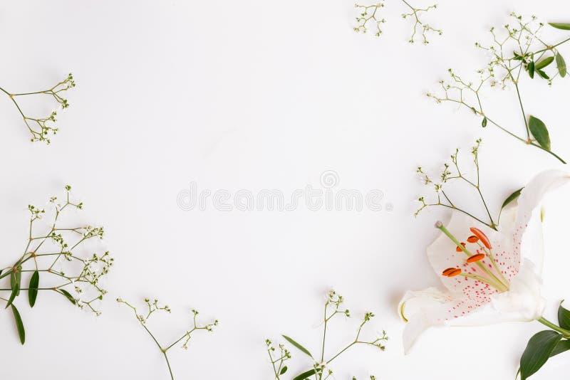 En bukett av korallblommor p? vita br?den royaltyfri bild