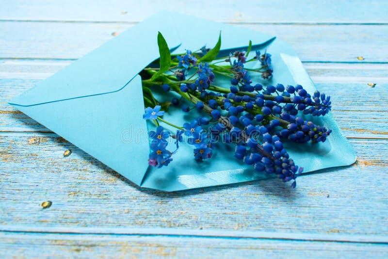 En bukett av mussarien och små blåa blommor i ett blått kuvert dekoreras med en guld- pilbåge på en ljus träbakgrund Postca royaltyfri foto