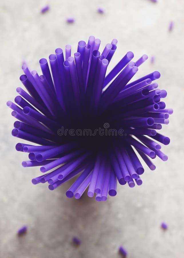 En bukett av purpurfärgat sugrör arkivbild