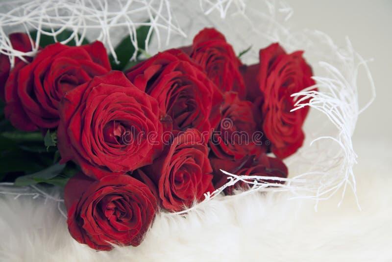 En bukett av röda rosor på en vit pläd arkivfoton