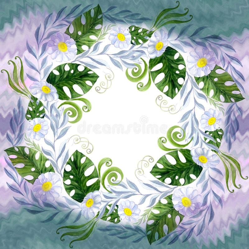 En bukett av tusenskönablommor - blommor, sidor på vattenfärgbakgrund royaltyfri illustrationer