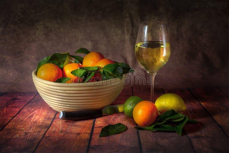 En bunke av citrusfrukt och vin royaltyfria foton