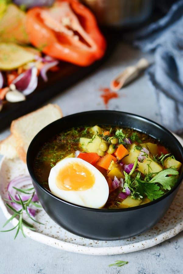 En bunke av läcker italiensk minestrone för grönsaksoppa royaltyfri fotografi