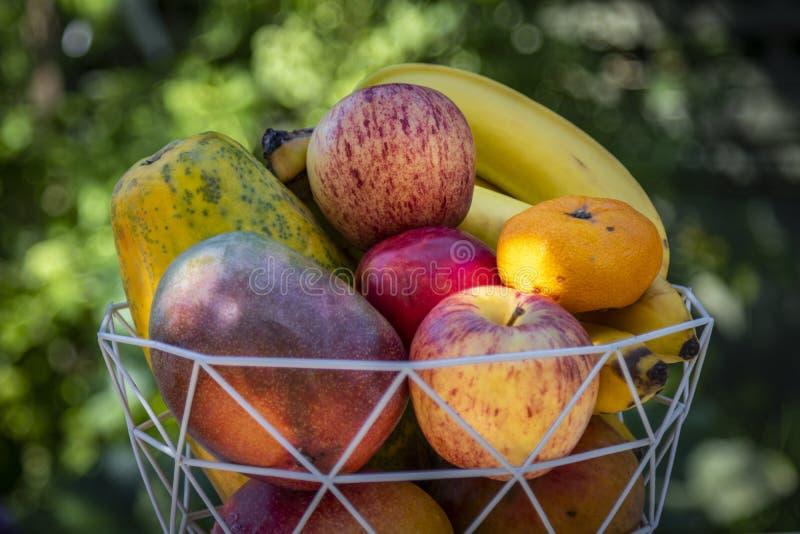 En bunke av läcker ny frukt med äpplen, bananer, apelsiner, mango och papayas royaltyfria foton