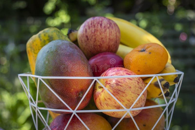 En bunke av läcker ny frukt med äpplen, bananer, apelsiner, mango och papayas royaltyfri foto