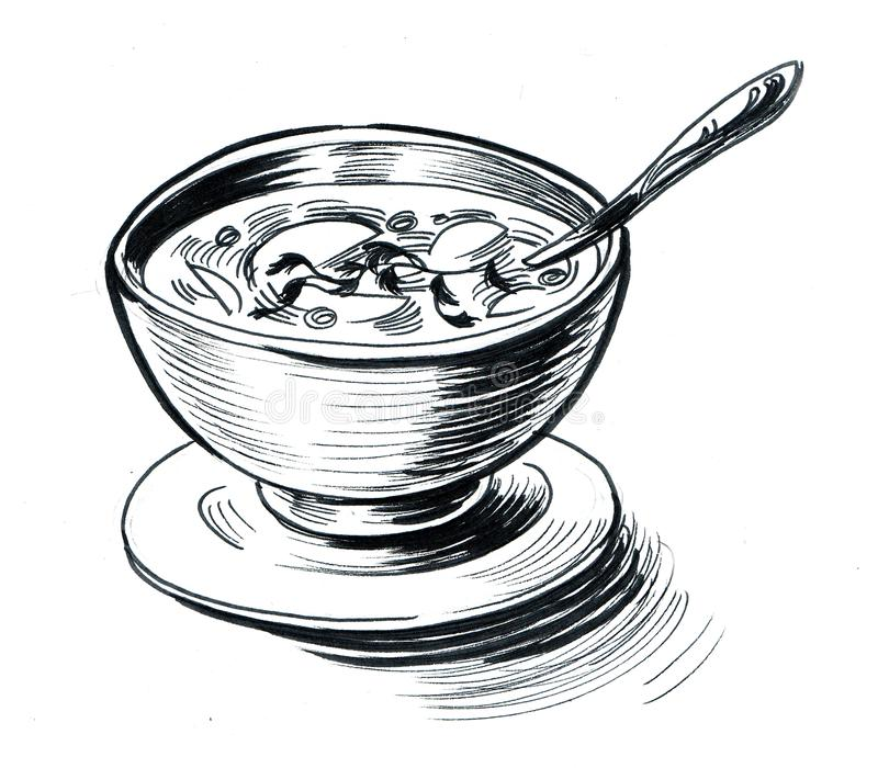 En bunke av soup vektor illustrationer