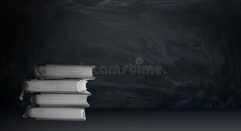 En bunt av böcker som ligger på en tabell på en bakgrund av svart krita vektor illustrationer