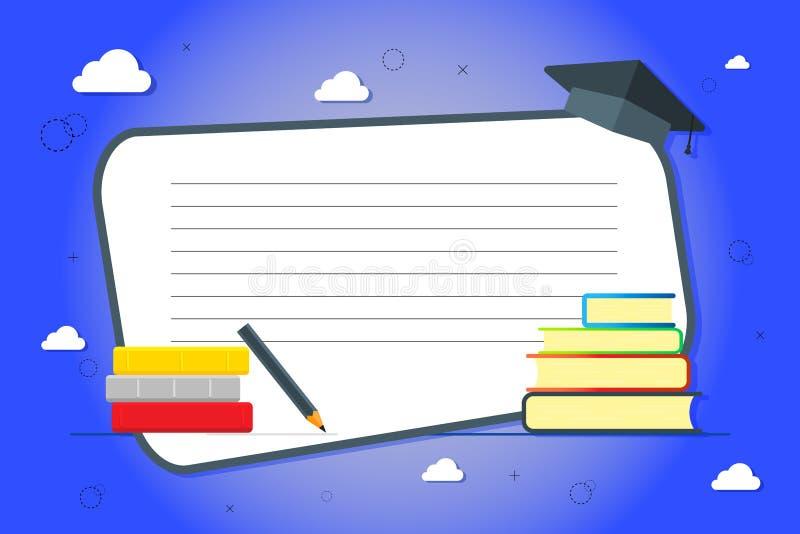 En bunt av b?cker p? en bl? bakgrund Kunskap utbildning, bakgrundsstudie Vektorillustrationer med ett ställe för din text stock illustrationer