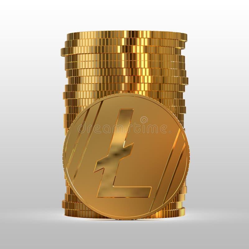 En bunt av guldmynt Cryptocurrency litecoin illustration 3d vektor illustrationer