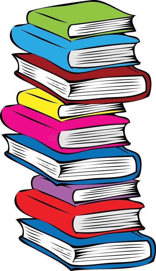 En bunt av olika kulöra böcker stock illustrationer