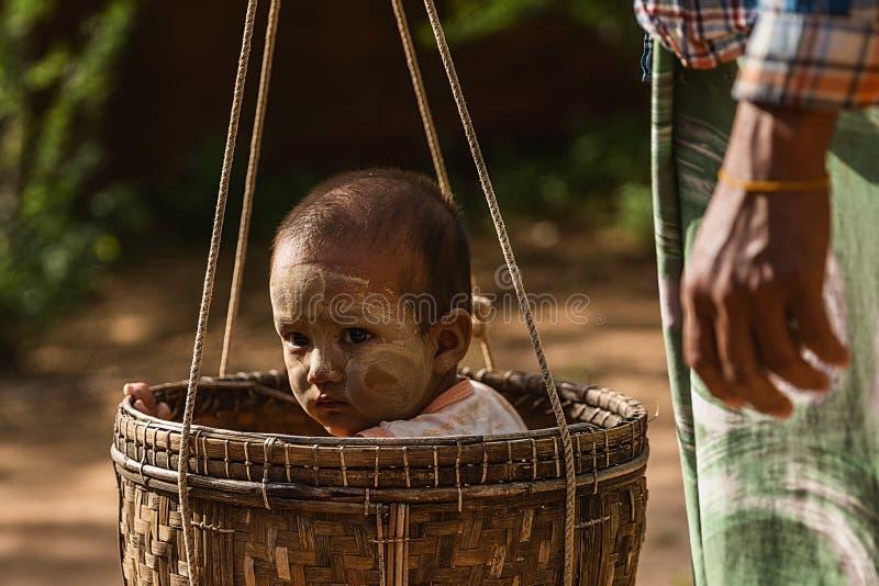 En Burmese pojke som sitter i en korg arkivfoton