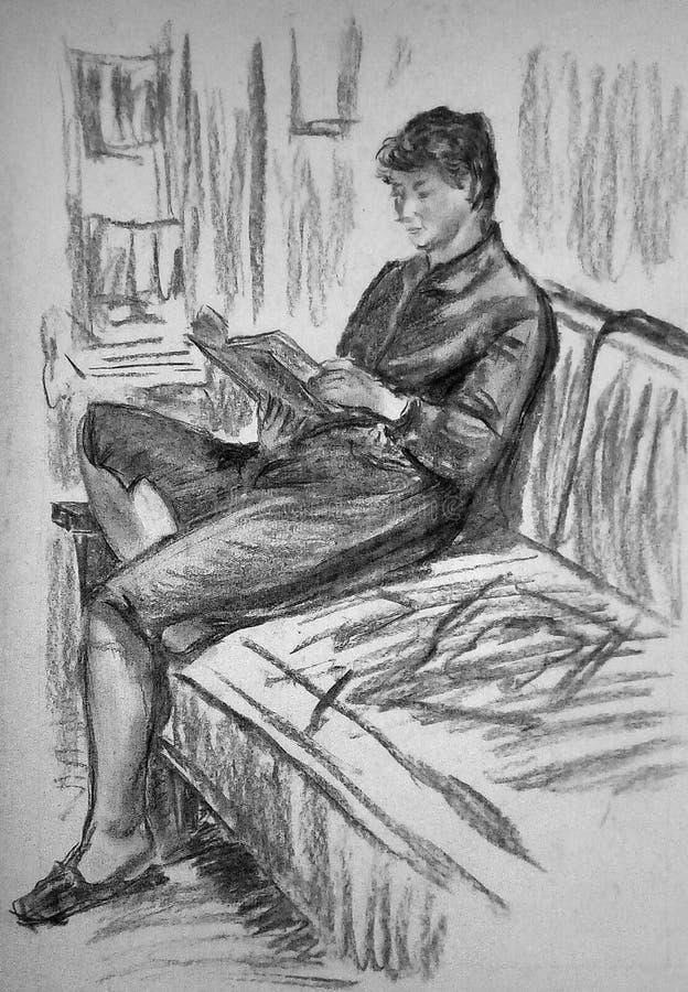 En buse skissar av en kvinna som sitter på en soffa i ett rum arkivfoto