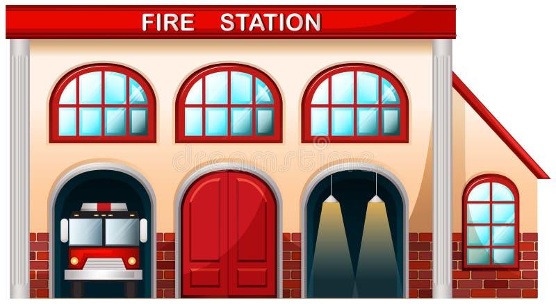 En byggnad för brandstation vektor illustrationer
