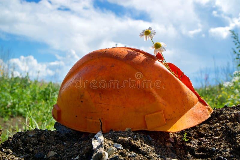 En byggnadshjälm av orange färg är bruten från den som ut klibbar blommor, blå sommarhimmel royaltyfria bilder