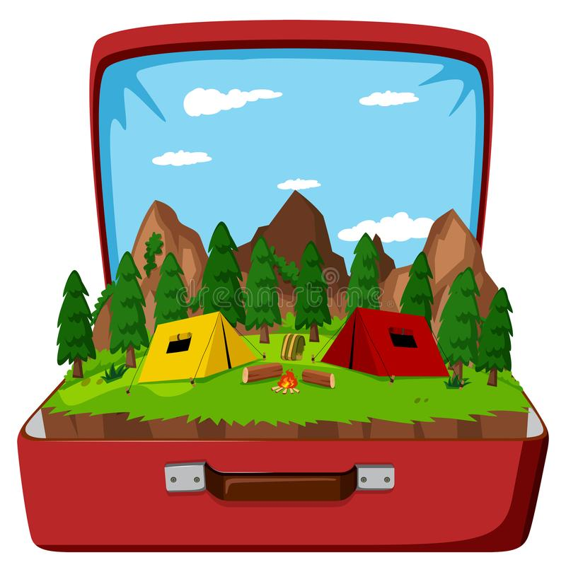 En campingplats i tappningpåsen royaltyfri illustrationer