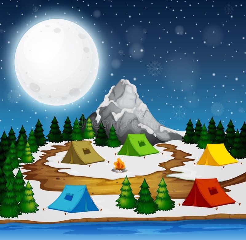 En campingplats på natten vektor illustrationer