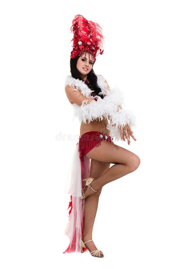En caucasian dans för kvinnasambadansare som isoleras på den vita oavkortade längden arkivfoton