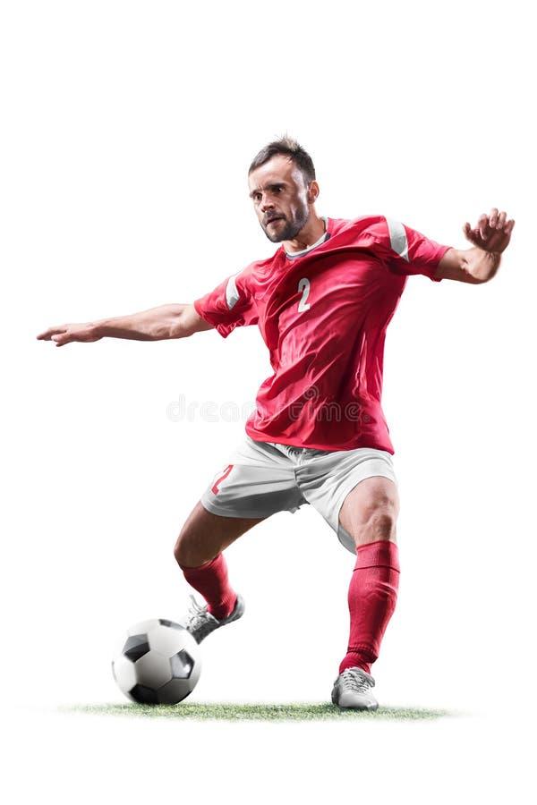 En caucasian man för fotbollspelare som isoleras på vit bakgrund arkivbild