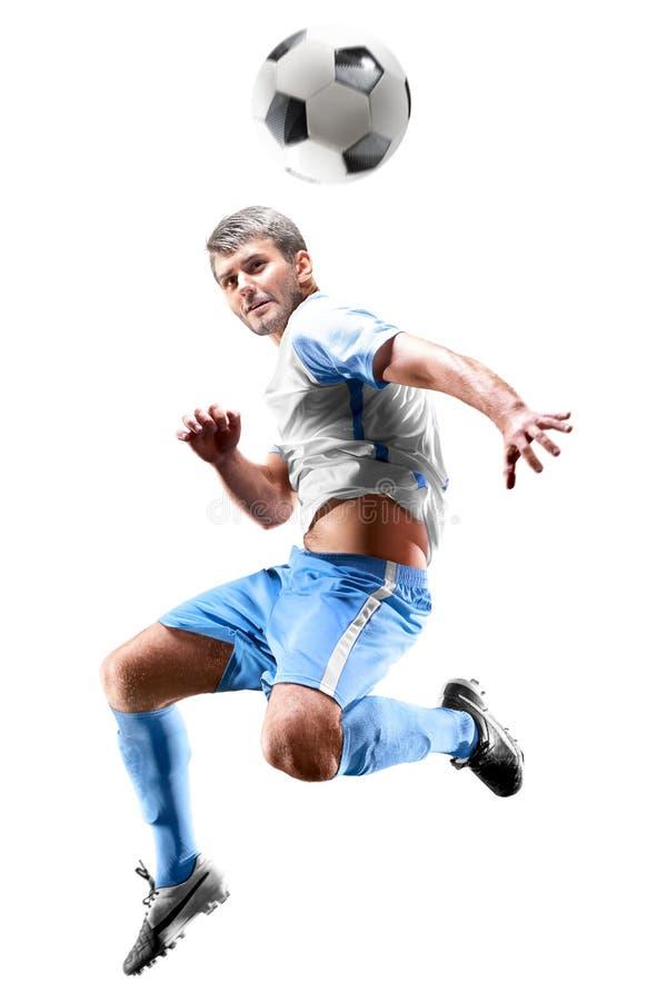 En caucasian man för fotbollspelare som isoleras på vit bakgrund royaltyfri bild
