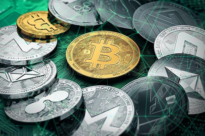 En cirkel med en guld- bitcoin inom enorm bunt av cryptocurrencies royaltyfri illustrationer