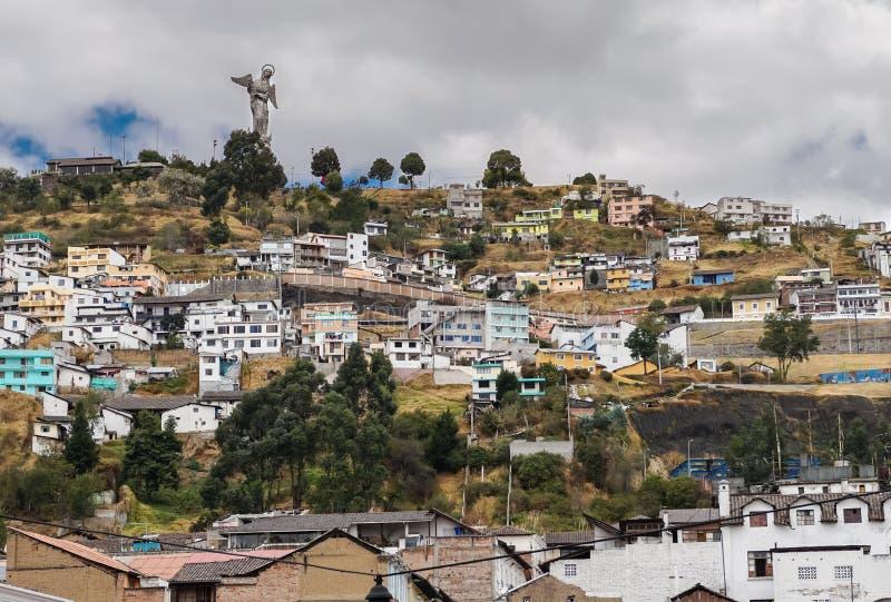 En Cityscape av Quito, Ecuador arkivbilder