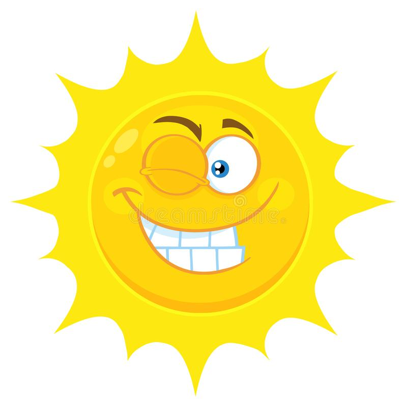 En clignant de l'oeil la bande dessinée jaune Emoji de Sun faites face au caractère avec l'expression de sourire illustration libre de droits