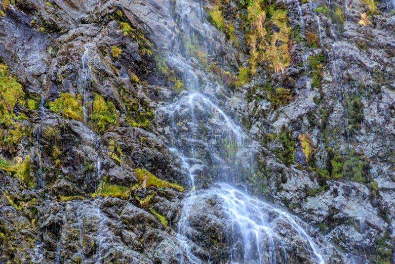 En Closeup av en vattenfall på det Routeburn spåret i Nya Zeeland royaltyfri bild