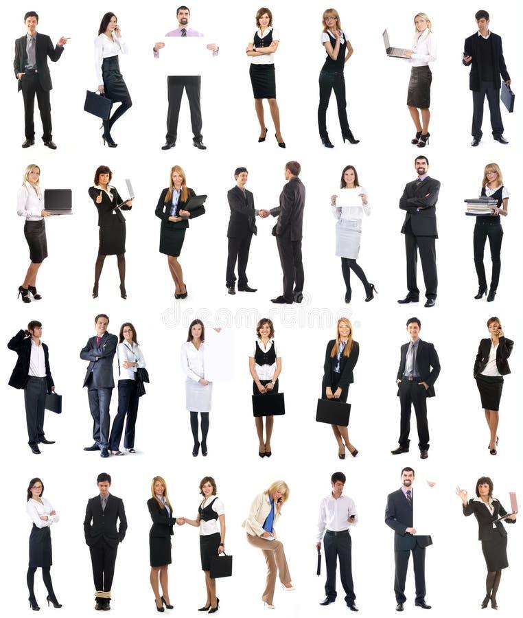 En collage av affärsfolk i formell kläder arkivbild
