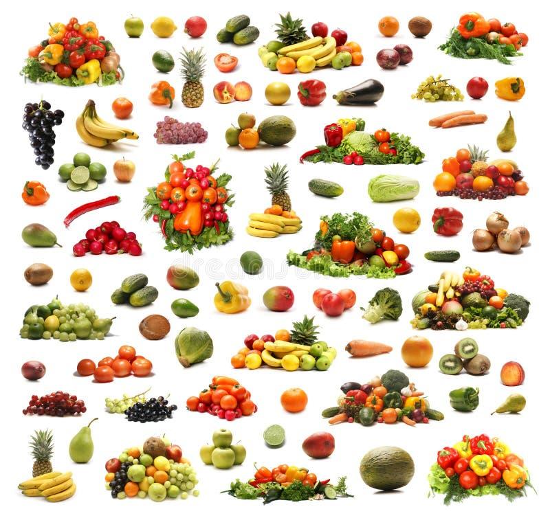 En collage av många olika frukter och grönsaker arkivbilder