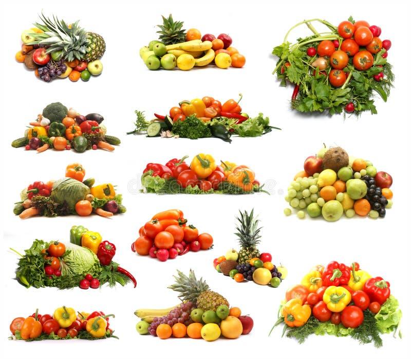 En collage av många olika frukter och grönsaker fotografering för bildbyråer