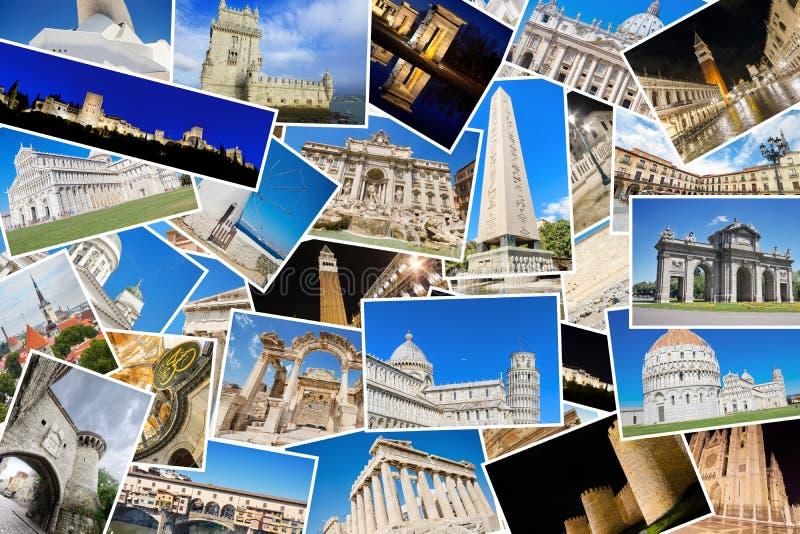 En collage av mina bästa loppfoto av berömda gränsmärken från europeiska städer royaltyfri fotografi