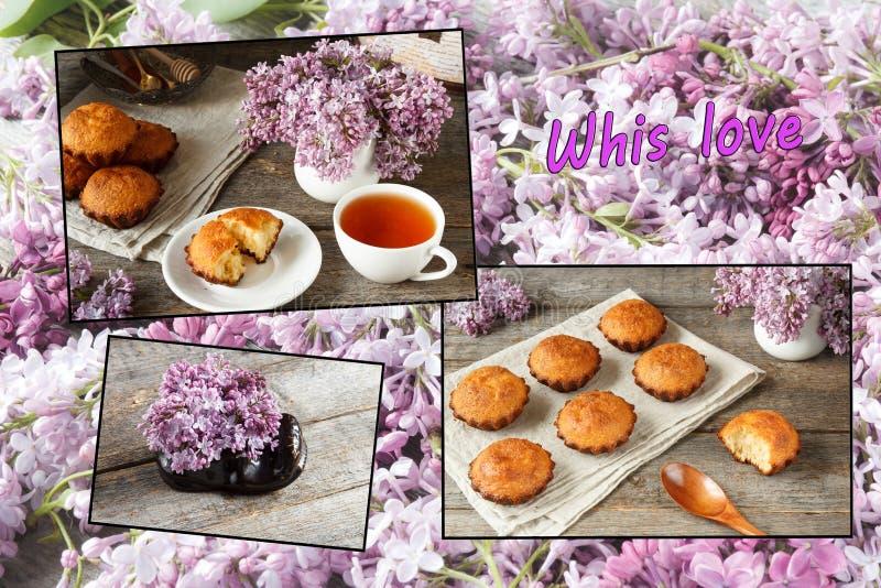En collage av phot några rullar på träbakgrund En bukett av lilor, bruten muffin 1 livstid fortfarande royaltyfri fotografi
