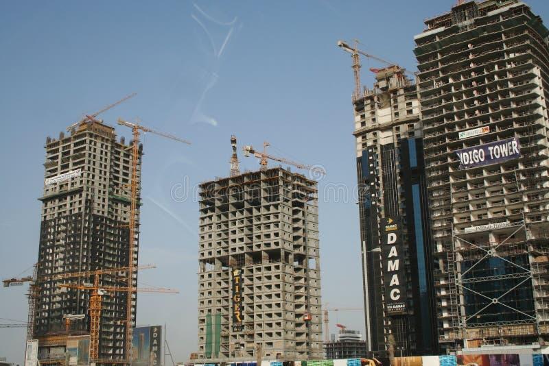 En construction - cheik Zayed Road Dubaï EAU photo stock
