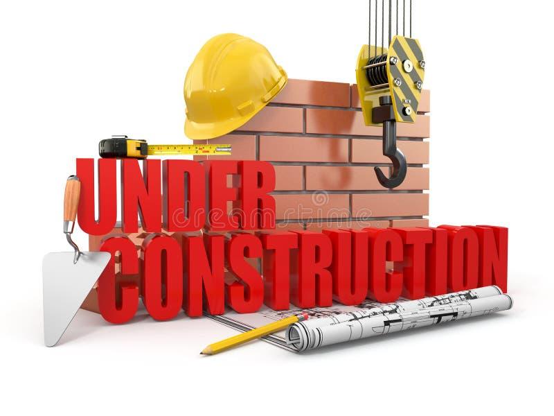 En construction. Outils, masque et mur illustration libre de droits