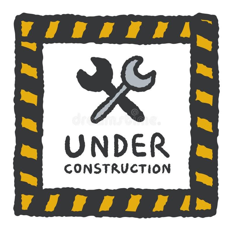 En construction signe dedans le style de bande dessinée illustration de vecteur