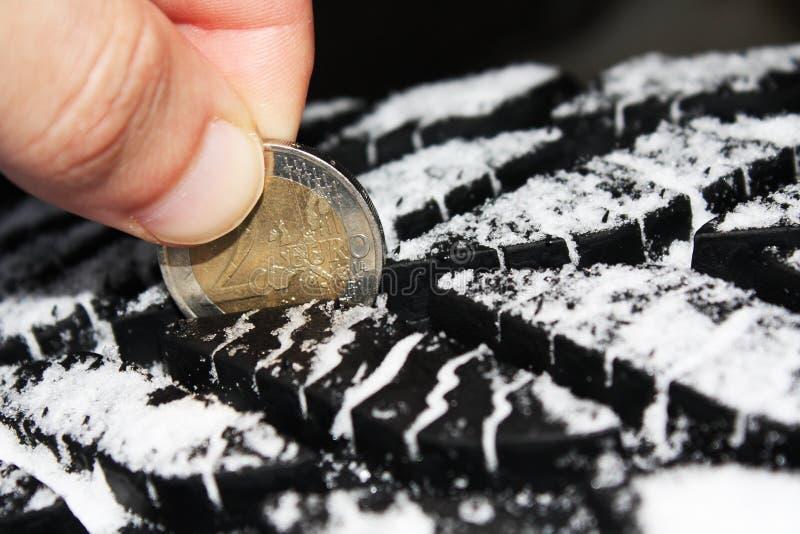 En contrôlant la profondeur des rainures de pneu avec un euro deux inventez photos libres de droits