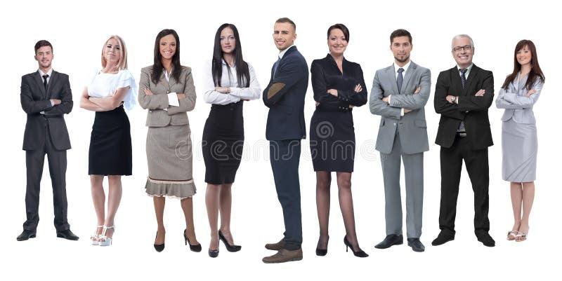 En crecimiento completo equipo profesional del negocio aislado en blanco imagenes de archivo