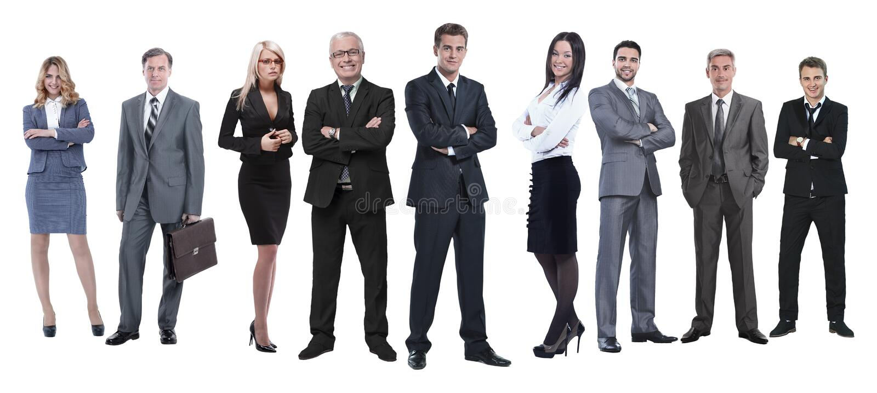 En crecimiento completo equipo profesional del negocio aislado en blanco fotos de archivo