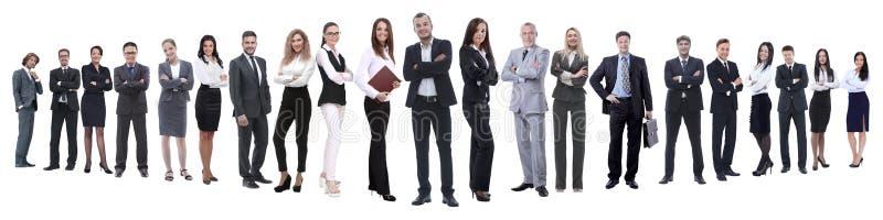 En crecimiento completo equipo profesional del negocio aislado en blanco imagen de archivo