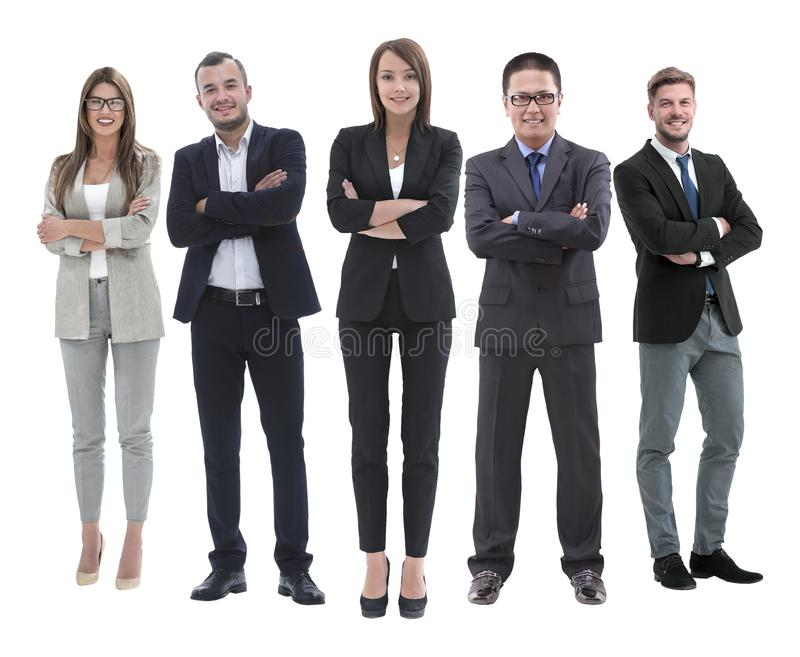 En crecimiento completo jefe y su equipo del negocio que se unen fotografía de archivo libre de regalías