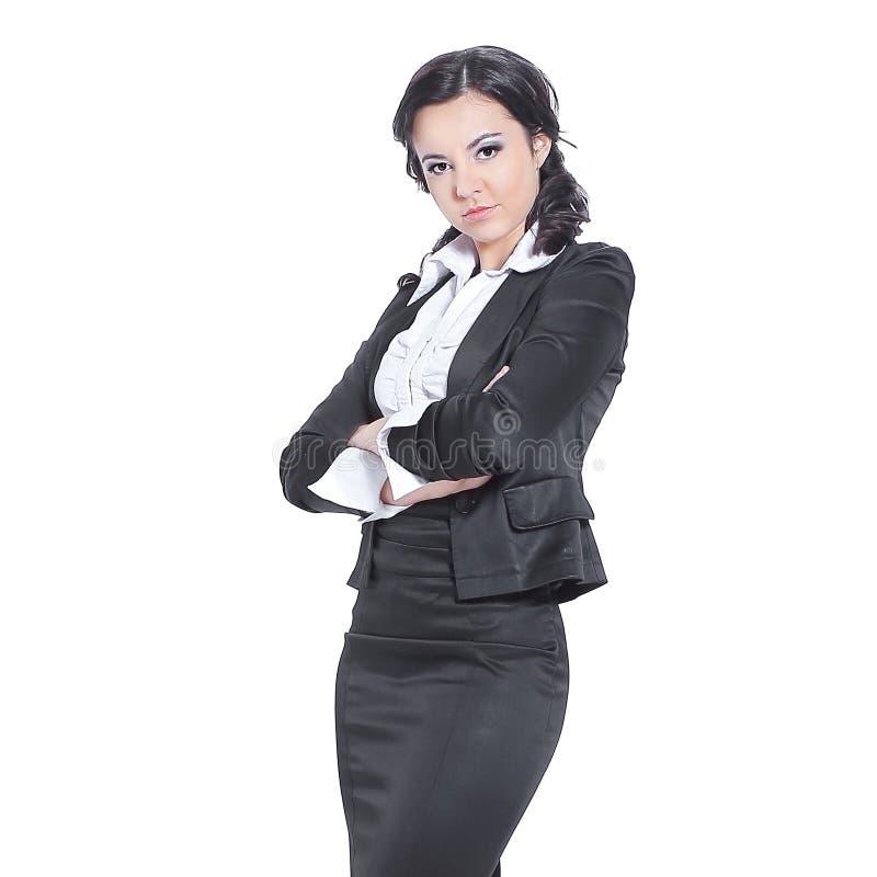 En crecimiento completo Mujer de negocios seria Aislado en blanco imagen de archivo libre de regalías