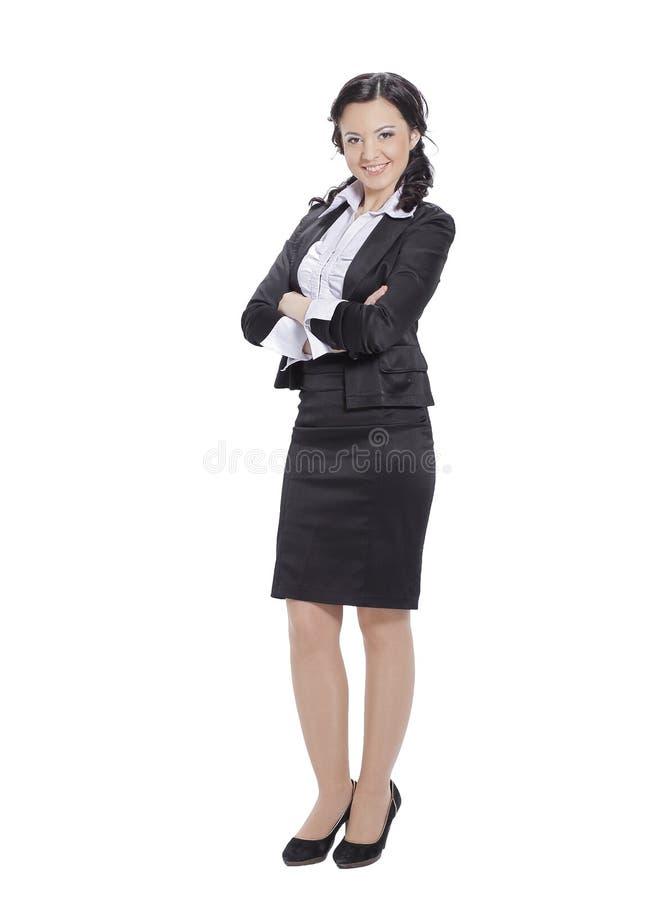 En crecimiento completo Retrato de la mujer de negocios acertada Aislado en blanco fotografía de archivo