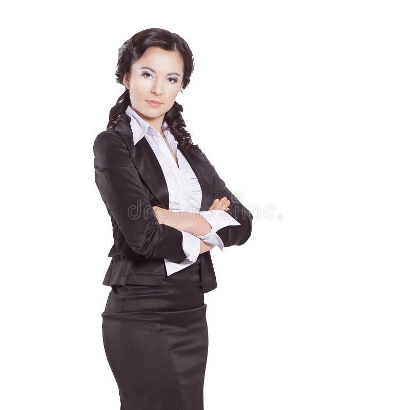 En crecimiento completo Retrato de la mujer de negocios confidente Aislado en blanco fotografía de archivo libre de regalías