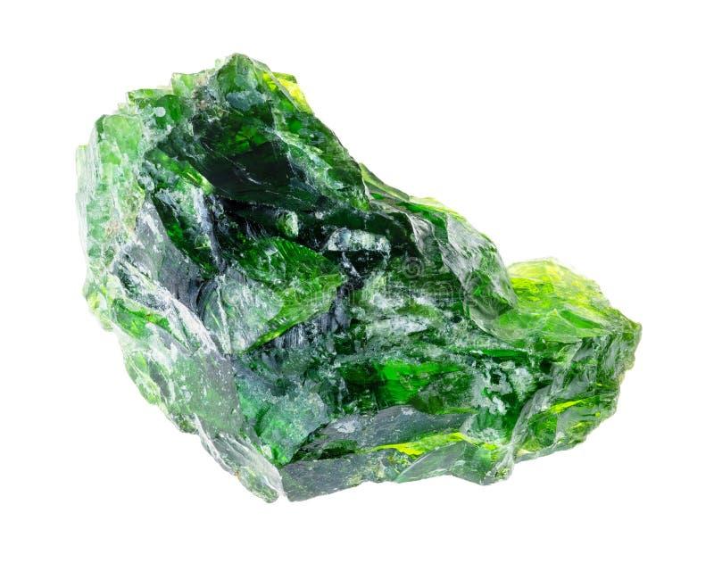 en cristal diopside de chrome rugueux (vert sibérien) photographie stock libre de droits