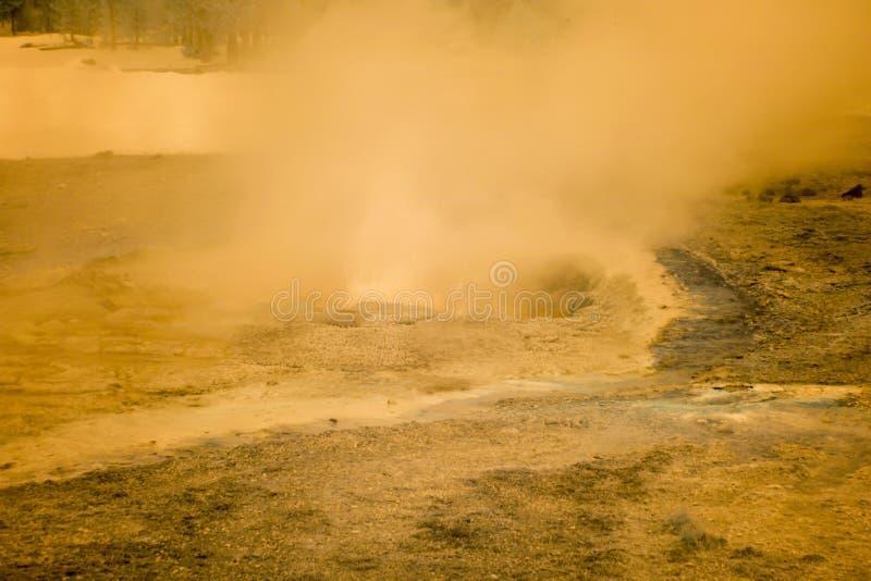 En cuisant le geyser à la vapeur exhalez dans l'infrarouge en bassin supérieur de geyser, Yellowst photographie stock libre de droits