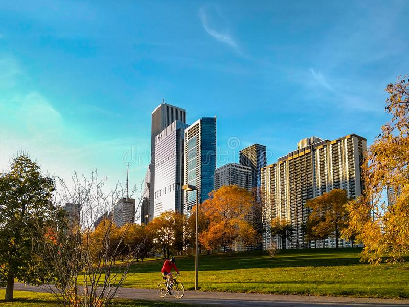 En cyklist på lakefront för Chicago ` som s cyklar slingan under höst arkivfoto