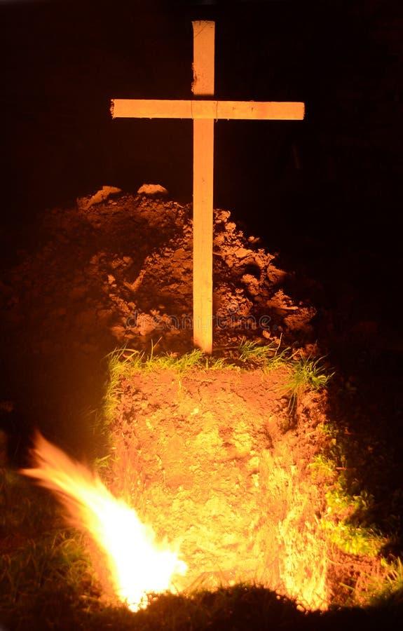 En död person på vägen till helvetet arkivfoton
