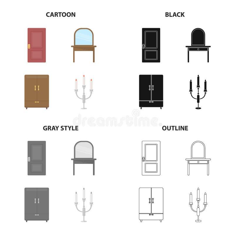 En dörr, ett stycke av möblemang en dressingtabell, en garderob, en ljusstake Fastställda samlingssymboler för möblemang i teckna vektor illustrationer