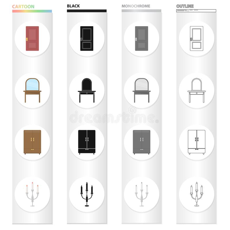 En dörr, ett stycke av möblemang en dressingtabell, en garderob, en ljusstake Fastställda samlingssymboler för möblemang i teckna royaltyfri illustrationer
