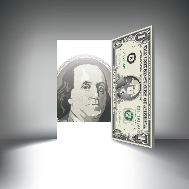 En dörr för dollarräkning gör tecken åt dig vektor illustrationer